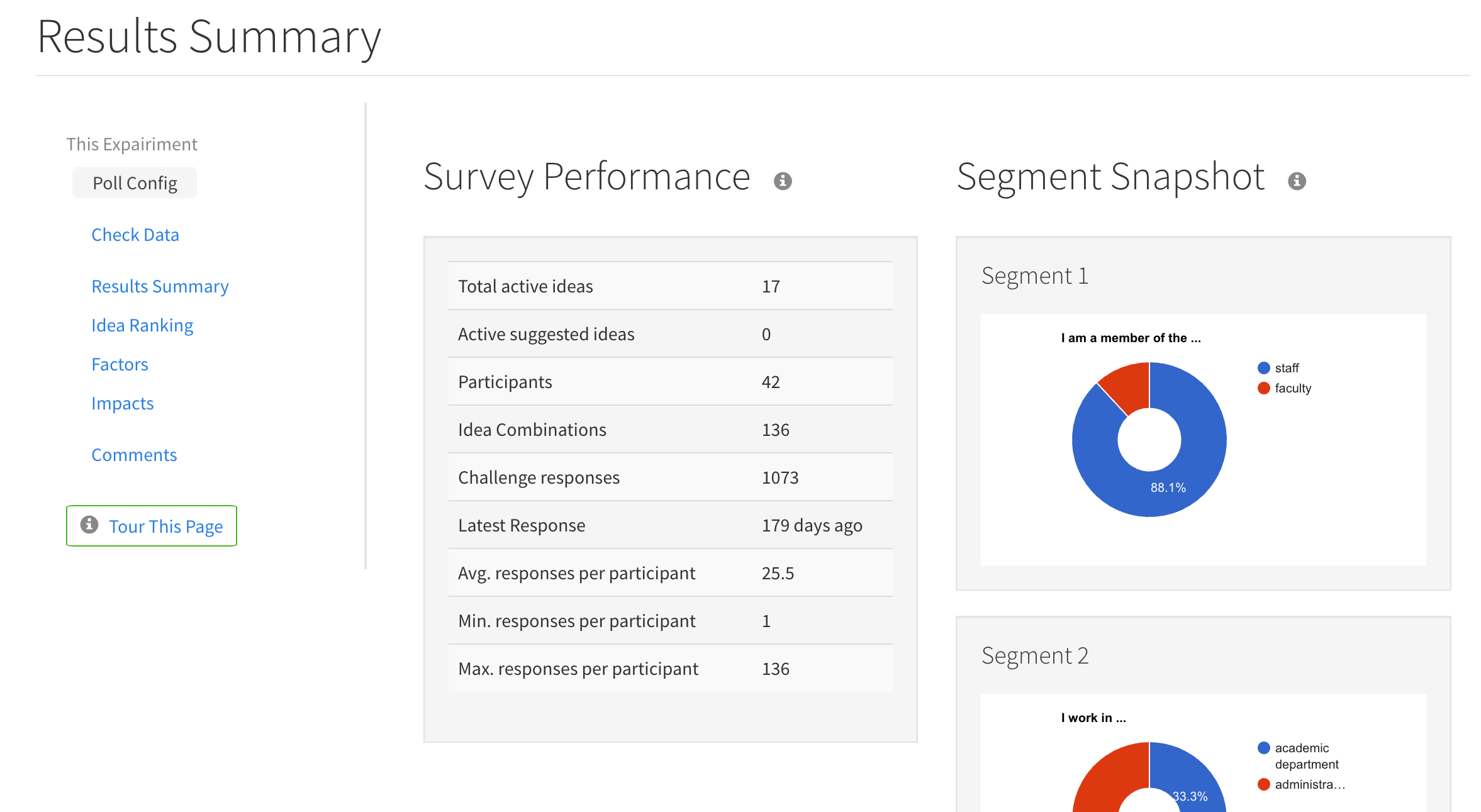 pairLab lets you see information on poll segments